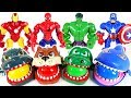 Marvel Avengers Hulk, Spider Man and terrible crocodile, dinosaur, shark surprise egg - DuDuPopTOY