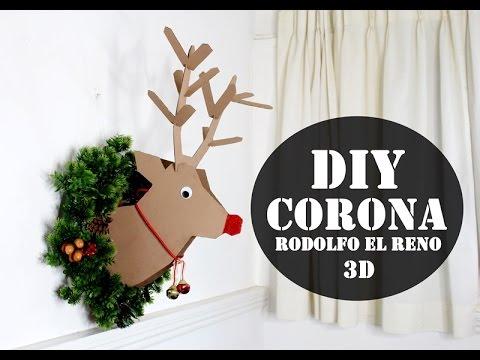 Como hacer una corona de reno 3d de carton youtube - Como hacer coronas de navidad ...