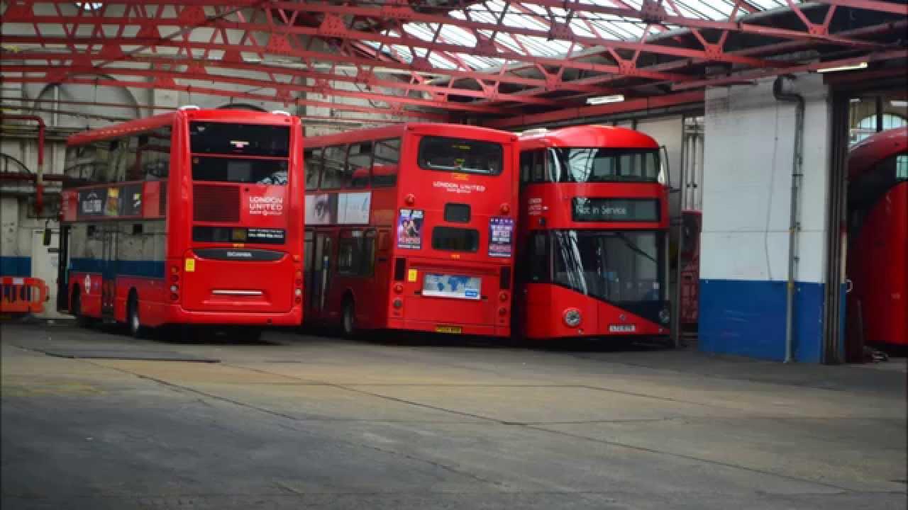 London united stamford brook bus garage youtube for Garage ad buc