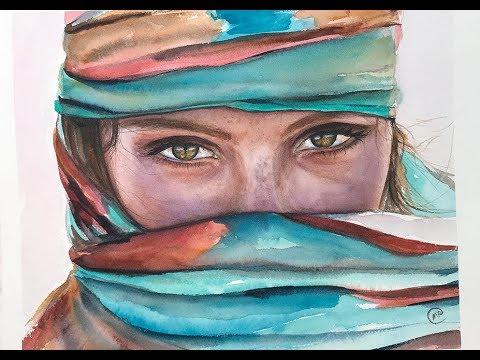 Watercolor Desert Woman Painting Demo