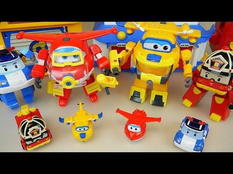 Thumbnail: Robocar Poli and Super Wings transformers airplane and car toys rescue marine pack