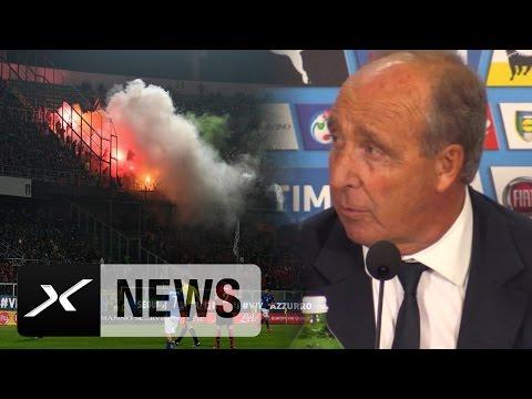 """Giampiero Ventura: Pyros haben """"Abend ruiniert""""   Italien - Albanien 2:0   WM-Qualifikation"""