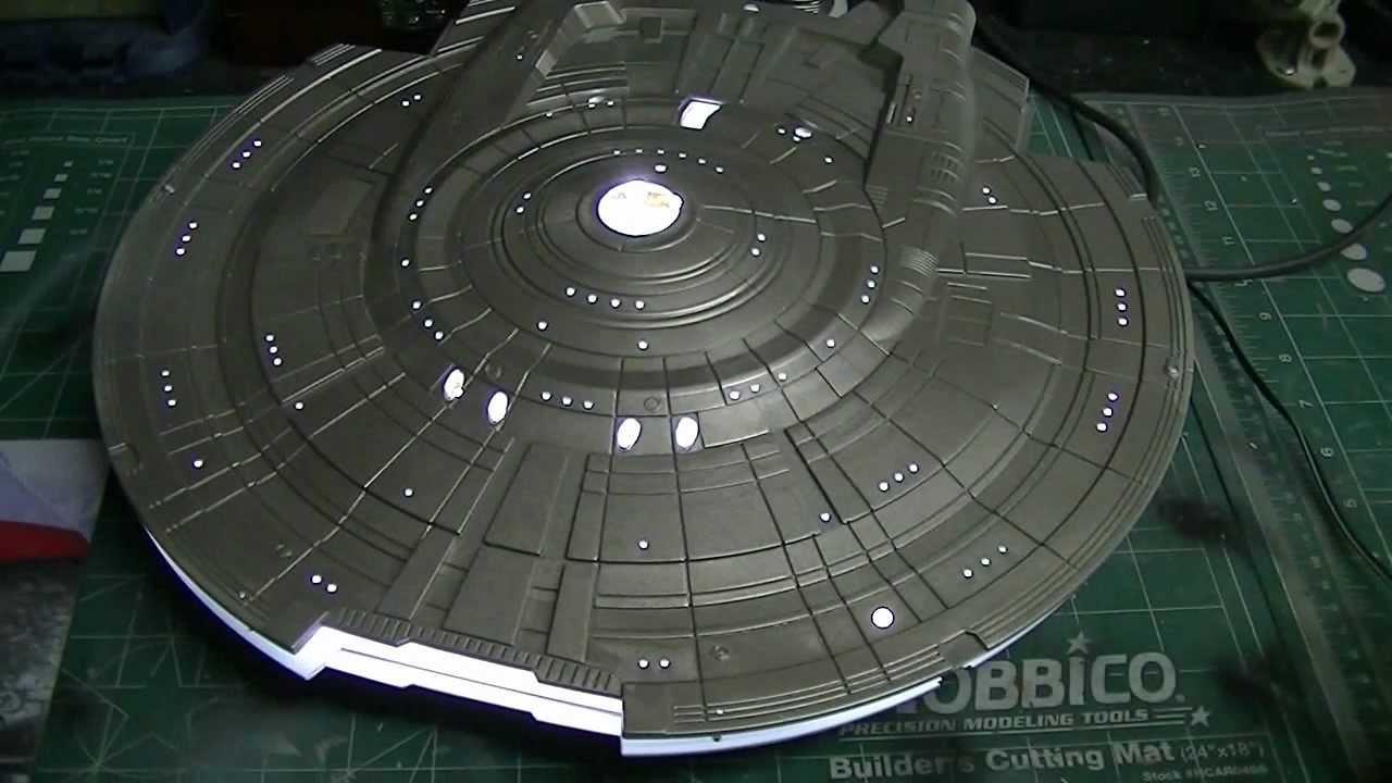 polar lights 1 350 scale enterprise nx 01 buildup pt 6 lighting the saucer