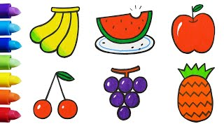 Drawing & Coloring fruits for kids & toddlers: banana, watermelon, apple, cherry, pineapple, grape