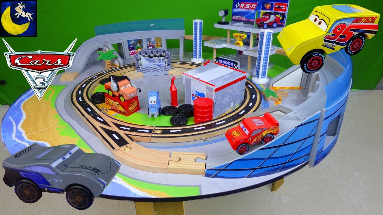 Disney Cars 3 Toys Ultimate Florida Speedway Race Track Set Kidkraft Wooden Train Table Playset Toys