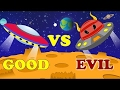 Spaceship War   Good vs Evil   Scary Street Vehicles   Kids Videos