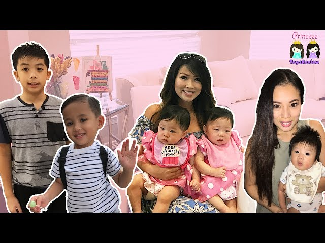 Princess ToysReview at Twin Baby's First Birthday Party! Family Fun Hide N Seek inflatable water kid