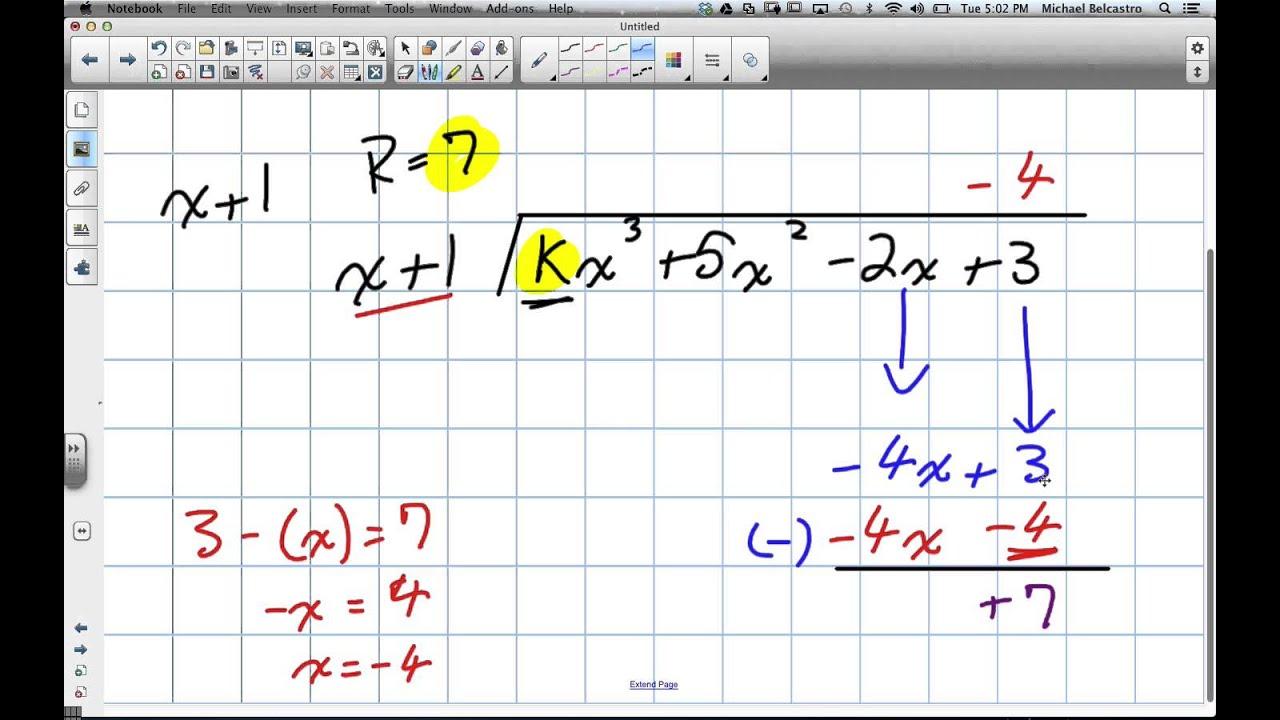 Long Division Of Polynomials Remainder Theorem Grade 12