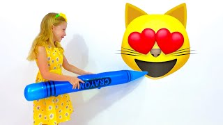 Nastya pretends to play with huge toys