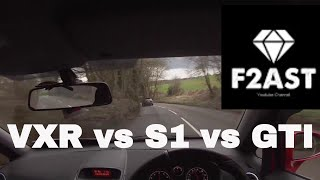 corsa vxr chases audi s1 and golf gti