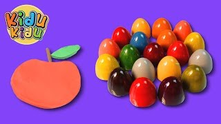 Surprise Eggs Learn Alphabets | A for Apple | LEARN English Words Play Doh Modelling
