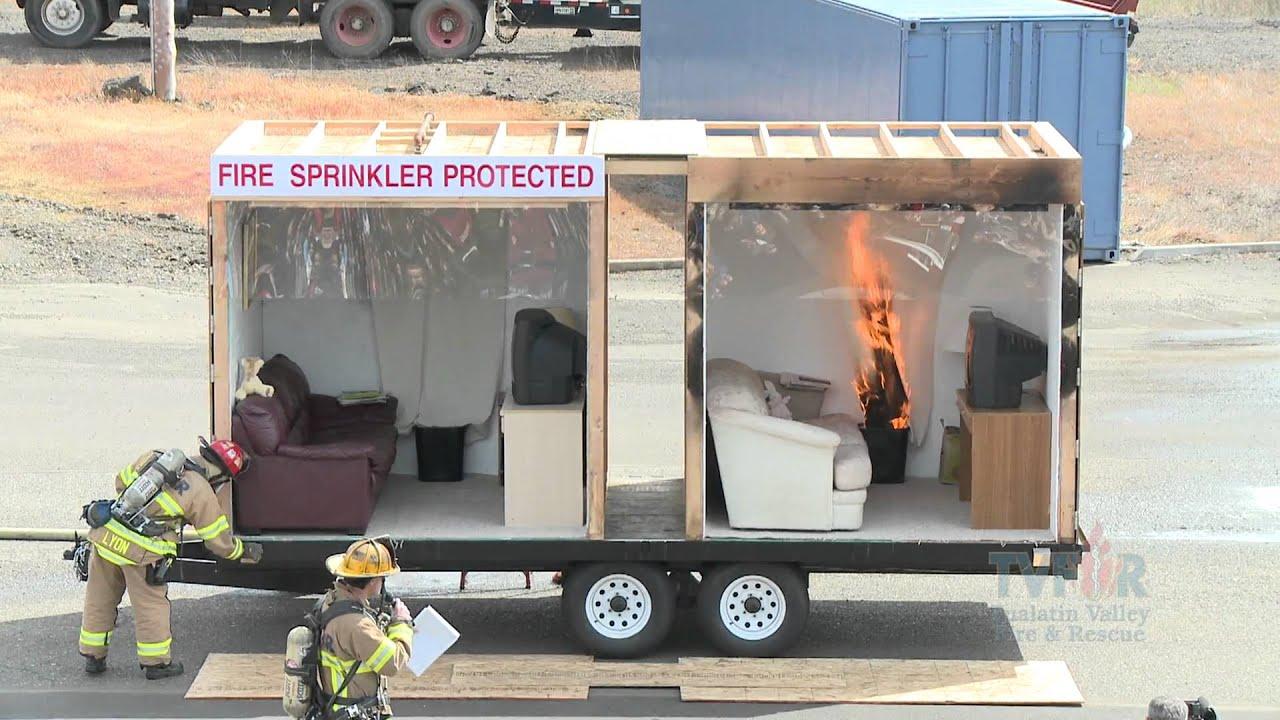 Side By Side Burn   Home Fire Sprinkler System   YouTube
