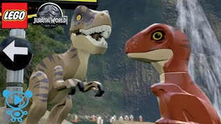 LEGO DINOSAUR BABY T-Rex and Velociraptor playing in Jurassic Park Video for kids