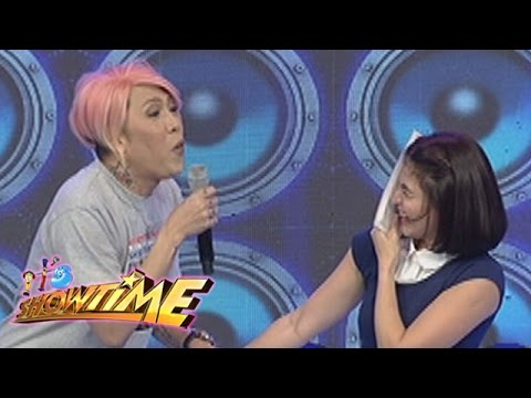 It's Showtime: Vice Ganda tries whistling while eating polvoron