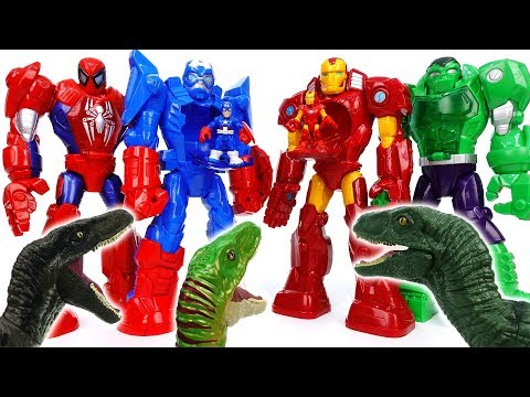 Thumbnail: Thanos & Dinosaurs Attack~! Avengers, Defeat Dinosaurs With Mech Armors - ToyMart TV