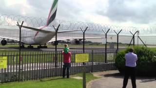 The biggest passenger plane in the world take off from Manchester airport!