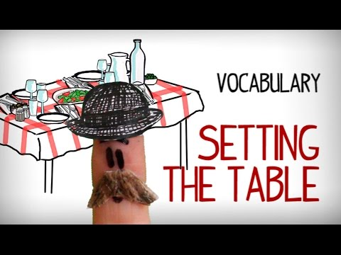English vocabulary table setting, dinner set . Video to learn English