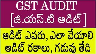 GST AUDIT - WHO IS LIABLE FOR GST AUDIT - AUDIT TYPES, DUE DATE - DETAILED EXPLANATION IN TELUGU