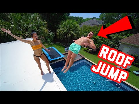 INSANE ROOF JUMP INTO POOL!