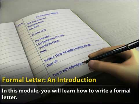 Class 11 English Formal Letter An Introduction Youtube