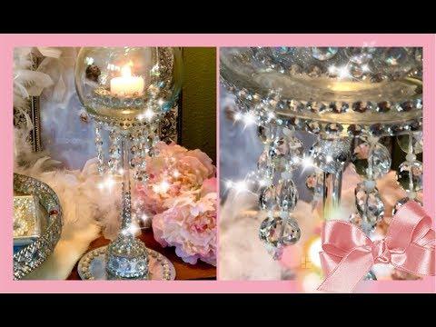 ~ DIY ~ Dollar Tree Glam Chandelier Candle Holder - Room Decor