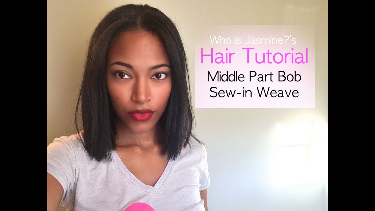 Middle Part Bob Sew In Weave Tutorial Jasmine Defined Youtube