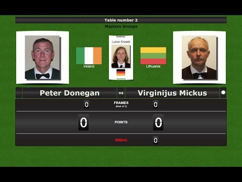 Snooker Masters Groups : Peter Donegan vs Virginijus Mickus