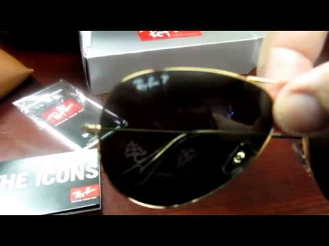 cf7c031d8 rayban rb 3025 001 58 62mm polarized aviators arista green crystal large -  YouTube