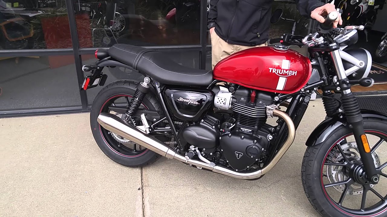 2016 triumph street twin cranberry red youtube. Black Bedroom Furniture Sets. Home Design Ideas