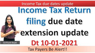 Latest Update on Income Tax return filing due dates Extension ||