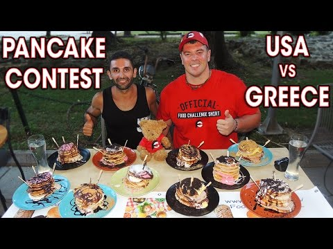 DESSERT PANCAKE EATING CHALLENGE IN GREECE!!