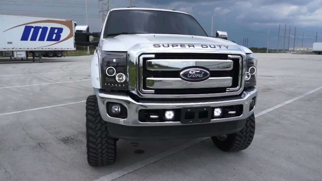 2015 F350 Headlights >> RECON Part # 264272BKCC Ford Superduty Smoked Projector Headlights w CCFL Halos & DRLs - YouTube