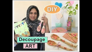 Decoupage for beginners | Decoupage on wood | Malayalam