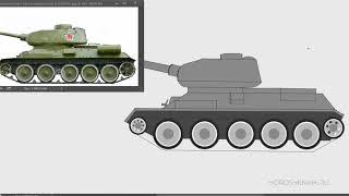 Как нарисовать танк Т-34 (ускоренный видео урок)