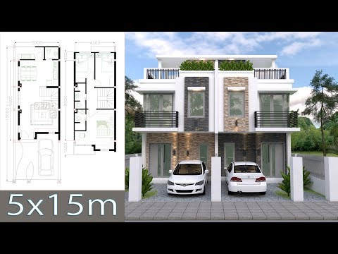 Home Design Plan 5x15m Duplex House with 3 Bedrooms