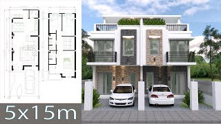 Home Design Plan 5x15m Duplex House with 3 Bedrooms full plan exterior sketchup modeling