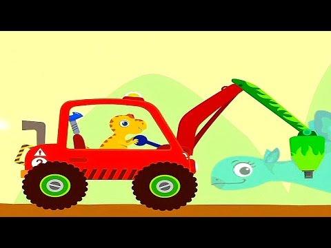 Динозаврик Хрумчик и его Машинка с отбойным молотком. Мульт Игры для детей и малышей