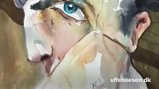 Ekspressiv portræt ansigt malet akvarel