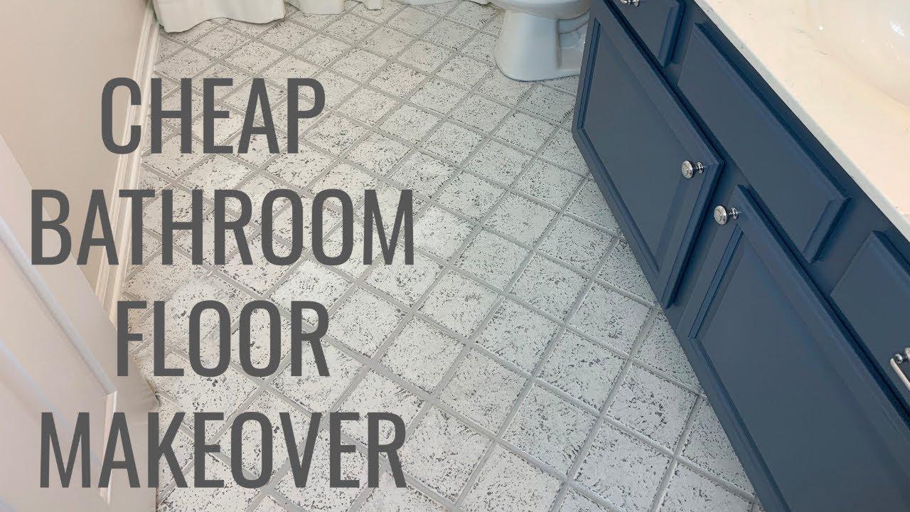 Cheap Bathroom Floor Makeover Easy Diy Youtube