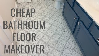 Cheap Bathroom Floor Makeover   Easy DIY