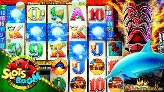 Dolphin Treasure & Tiki Torch Bonuses & Play!!!  5c  Aristocrat Video Slot