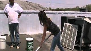 Demonstration Application of White Acrylic Roof Coating