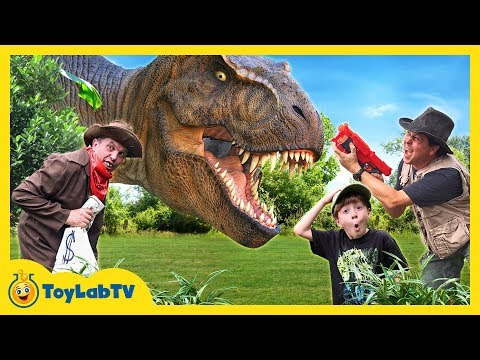 Download Youtube: Giant Life Size T-Rex Chase & Brachiosaurus Dinosaur in Fun Jurassic Dinosaurs Video for Kids