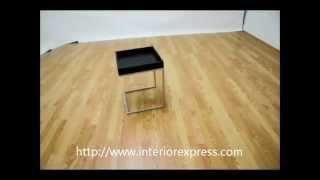 Interiorexpress Loni Black Wood Tray Top End Table With Silver Metal C Base