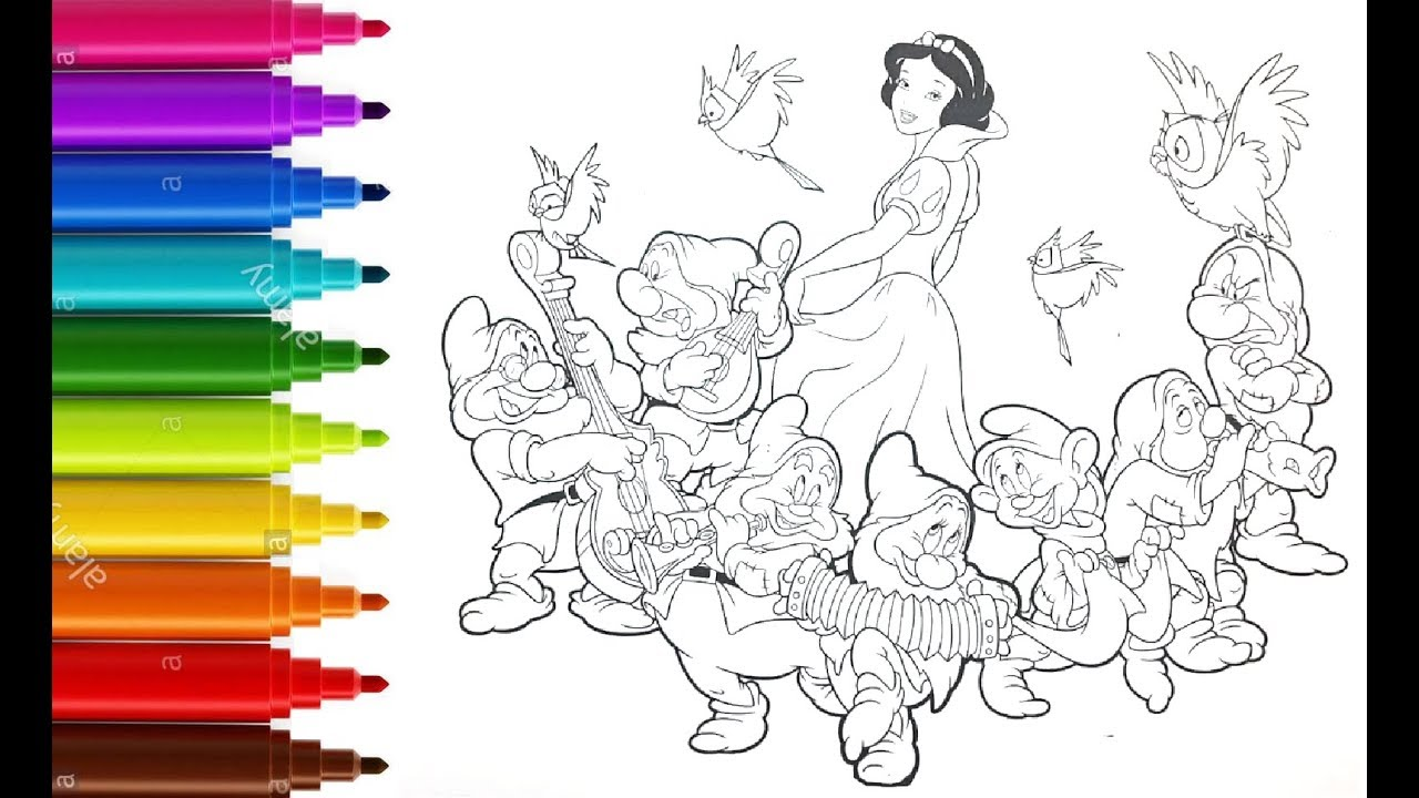 How to color snow white and the seven dwarfs , coloring ...