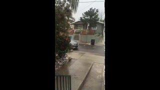 Trash Cans Slide down Street During Rain Storm