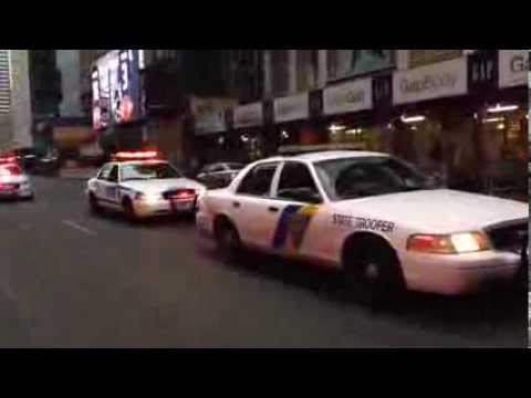 RARE NYPD & NEW JERSEY STATE POLICE JOINT MOTORCADE, CARRYING NEW JERSEY GOVERNOR CHRIS CHRISTIE.