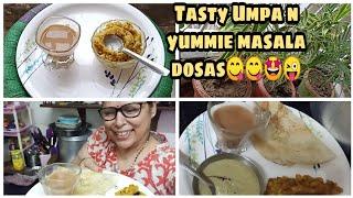 Tasty Upama with hot tea☕ and garma-garam masala dosa in awesome weather 🤩🤩😍😍👌👌