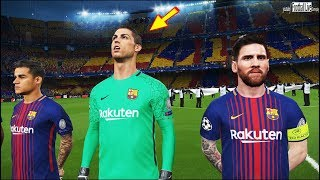 Pes 2018 | barcelona vs liverpool | goalkeeper ronaldo | messi free kick goal