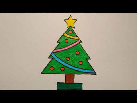 สอนวาดรูปต้นคริสต์มาสแบบง่ายๆ|Drawing a Christmas Tree easy for beginer|My Sky Channel.